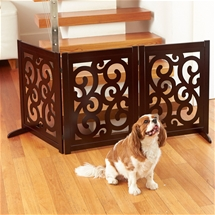 Freestanding Scroll Pattern Wood Pet Gate